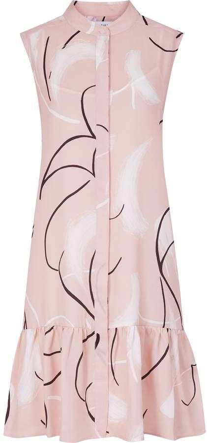 REISS Anastasia - Printed Drop Waist Dress in Pink