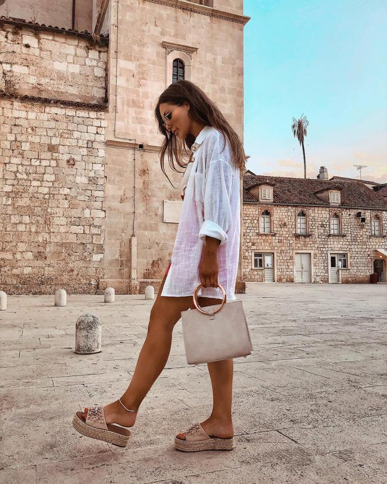 Louise Thompson style white oversize shirt pearl espadrilles hoop bag 2 July 2018