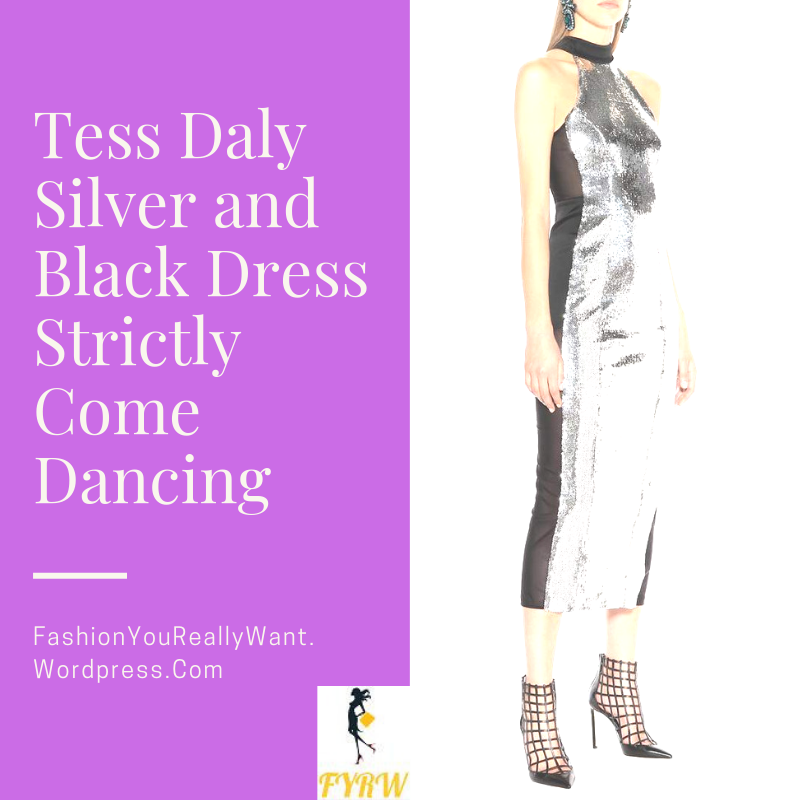 Tess Daly Silver And Black Dress Strictly Come Dancing Launch 2018