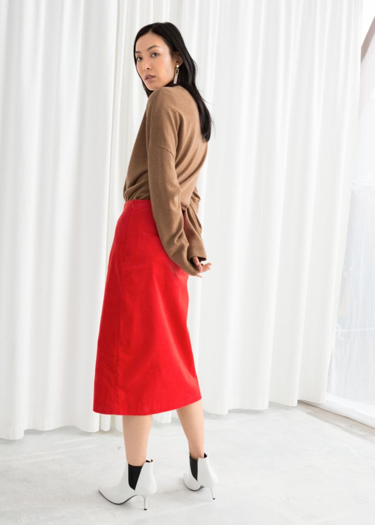 And Other Stories Front Slit Corduroy Midi Skirt v3