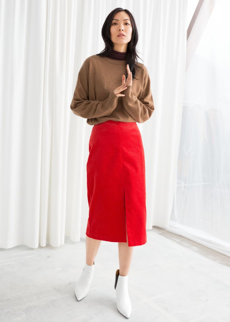 And Other Stories Front Slit Corduroy Midi Skirt