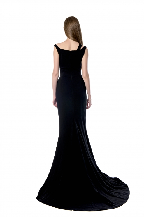 Celia Kritharioti Maxi Black Dress back view