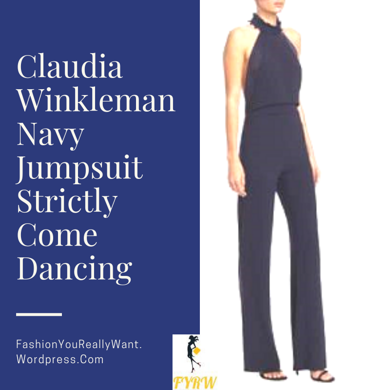 Claudia Winkleman Strictly Come Dancing outfit navy blue jumpsuit white fringe back September 2018