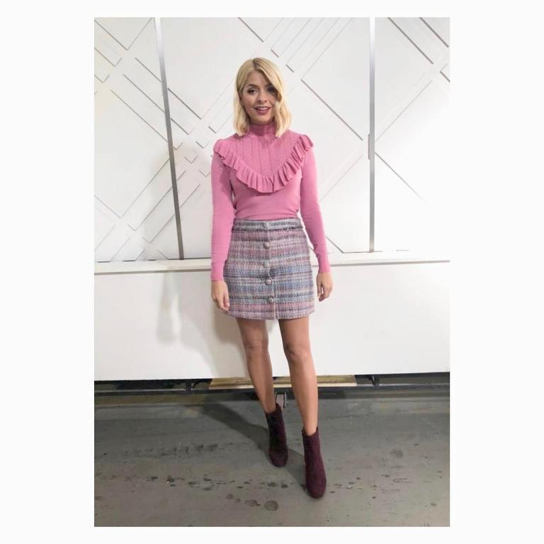 Holly Willoughby This Morning outfit today pink frill jumper blue and pink boucle skirt maroon ankle boots September 2018