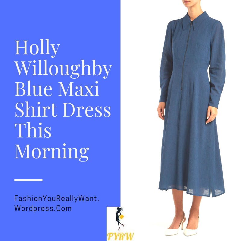 e15e1ccc5c1 Holly Willoughby This Morning style outfit blog blue maxi shirt dress nude  court shoes September 2018