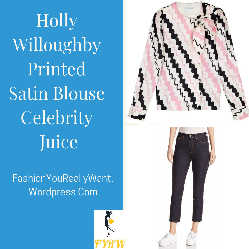 Holly Willoughby Celebrity Juice outfit style blog white blouse pink and black zigzag blue jeans red and nude strappy sandals September 2018