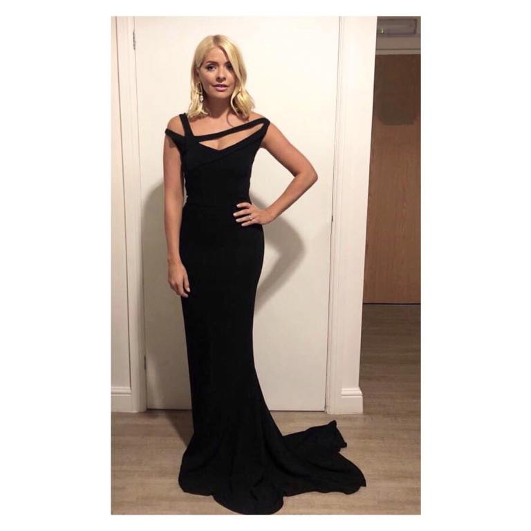Holly Willoughby style Celebrity Juice black asymmetric gown September 2018