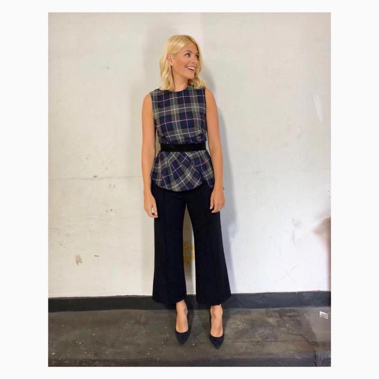 Holly Willoughby style outfit blog This morning blue check pleated top wide cropped trousers suede court shoes September 2018