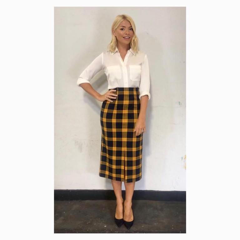 Holly Willoughby style outfit This morning blog yellow and black check shirt ivory blouse black court shoes September 2018