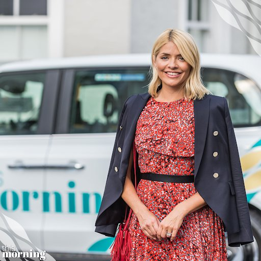 Holly Willoughby style red and black ruffle dress navy blazer August 2018