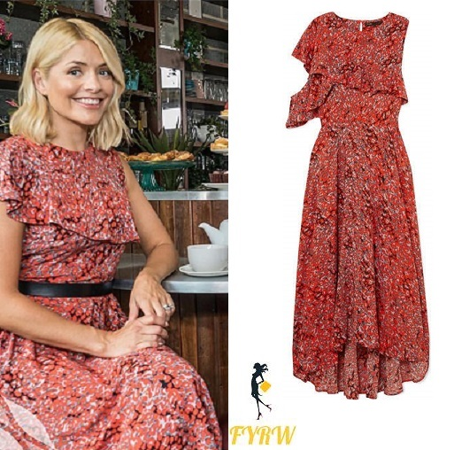 Holly willoughby style ruffle red and black leopard print dress Phil Schofield August 2018