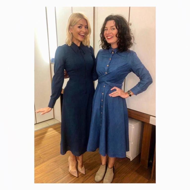 b2c75822974 Holly Willoughby This Morning outfit today blue zip shirt dress nude court  shoes September 2018