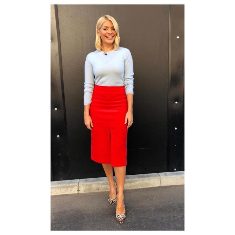 Holly Willoughby This morning outfit today grey jumper red split skirt leopard print shoes September 2018