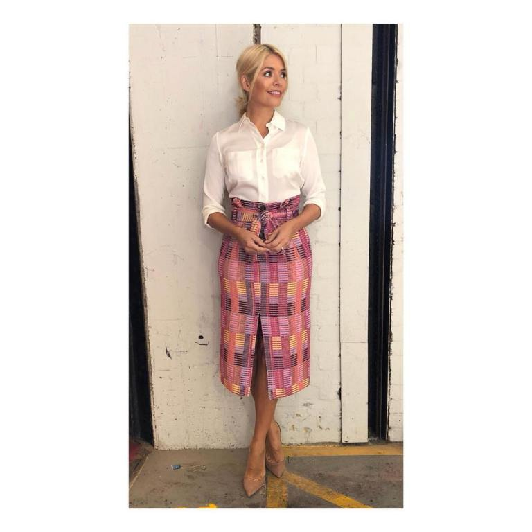 Holly Willoughby This morning style ivory shirt multicolour pink split skirt nude court shoes September 2018
