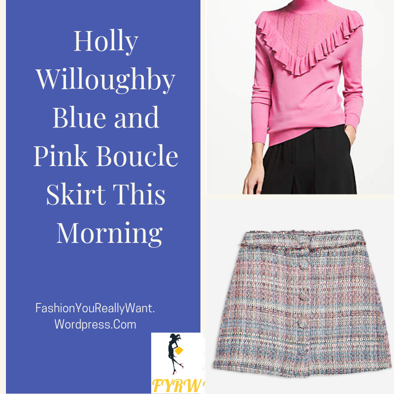 Holly Willoughby style This Morning outfit today pink and blue tweed boucle mini skirt pink frill jumper maroon ankle boots September 2018