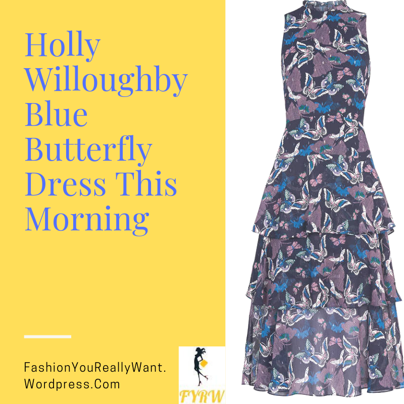 Holly Willoughby style outfit blog blue tiered butterfly dress black suede court shoes This Morning September 2018