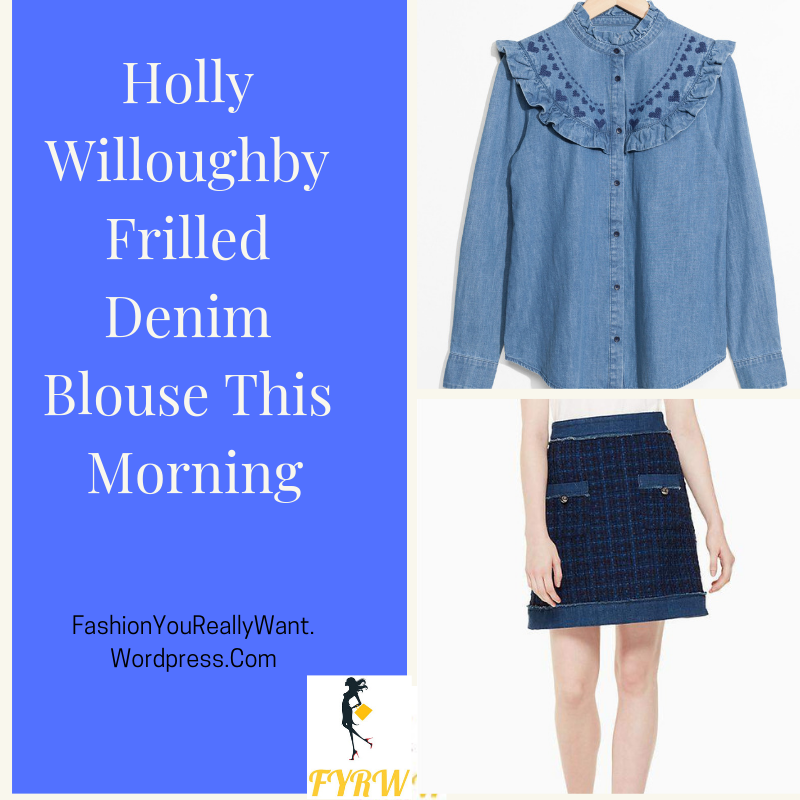 3b3268b6eefc92 Holly Willoughby This Morning outfit style blog frilled denim heart blouse  blue tweed skirt red ankle