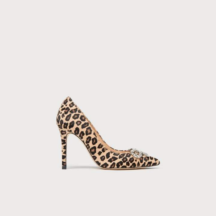 LK Bennett Fern Leopard Print Calf Hair Closed Courts