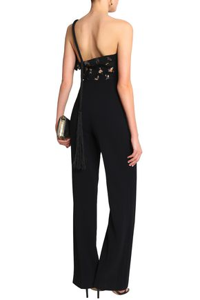 Roland Mouret Colburn One-Shoulder Fil Coupé Cloqué And Cady Jumpsuit back view