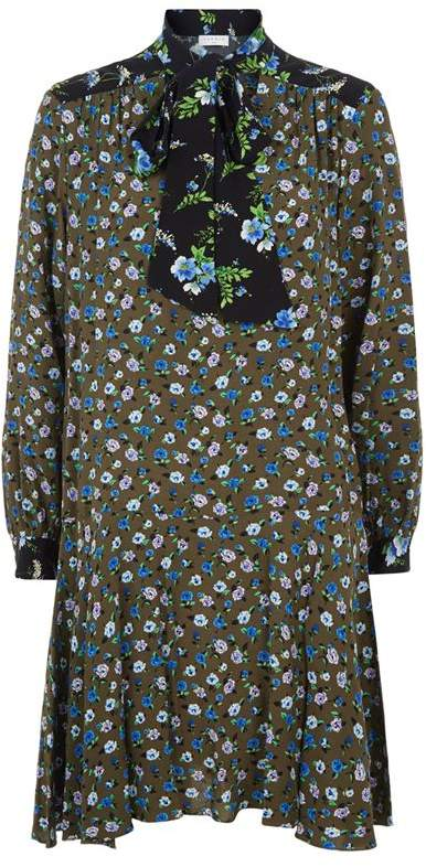 Sandro Short Printed Dress with Pussy Bow