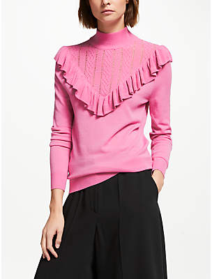Somerset by Alice Temperley Frill Pointelle Knit Jumper, Pink