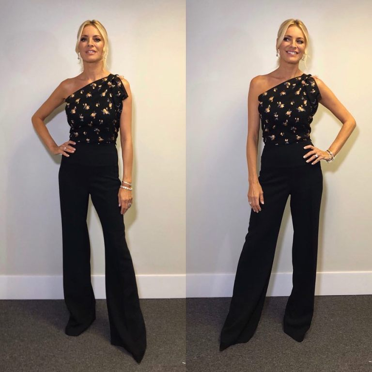 Tess Daly one shoulder embroidered black jumpsuit Strictly week 1 2018