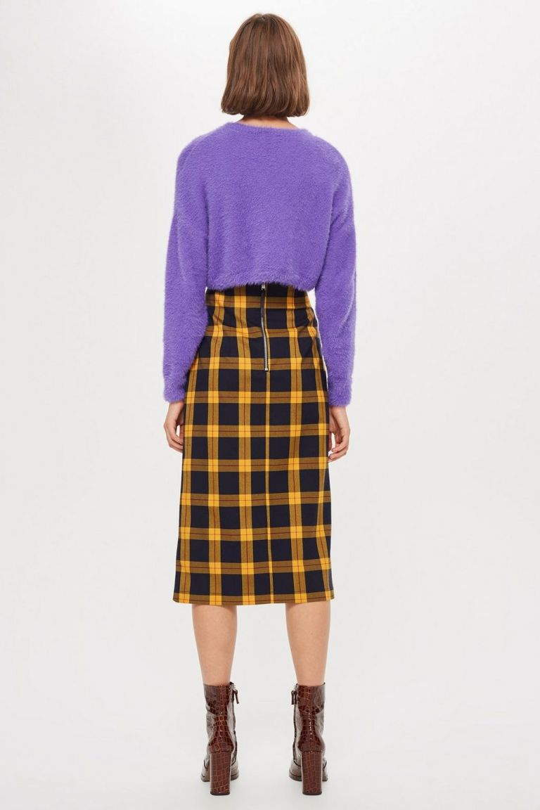 Topshop Check Pencil Midi Skirt back view