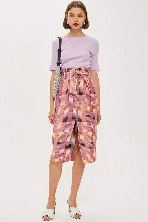 Topshop Multicoloured Jacquard Midi Skirt