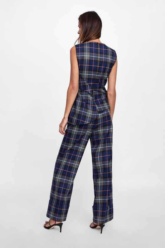 Zara Pleated Checked Top back view