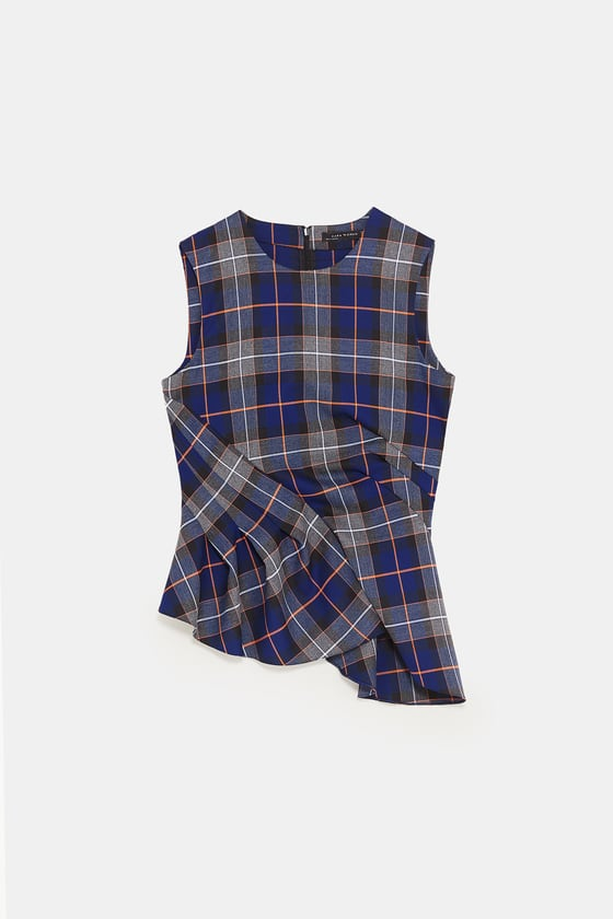 Zara Pleated Checked Top
