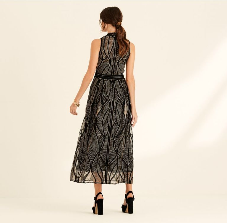 Amanda Wakeley Black & Copper Corded Embroidery Cocktail Dress back view