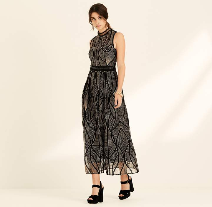 Amanda Wakeley Black & Copper Corded Embroidery Cocktail Dress