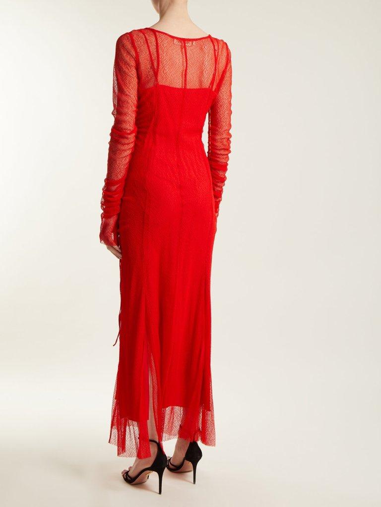 Diane Von Furstenberg Ruched Lace Gown back view