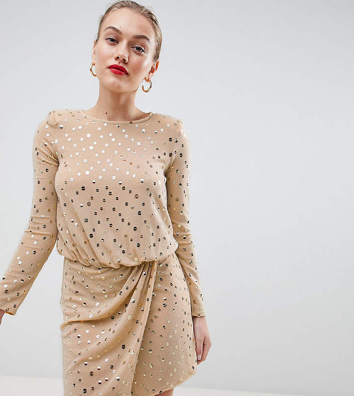 Flounce London Sequin Mini Dress With Shoulder Pads v2