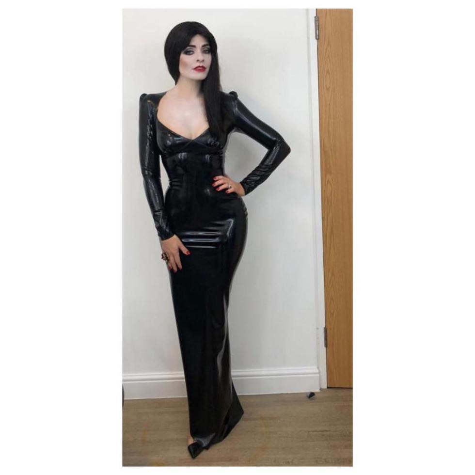 Holly willoughby Celebrity Juice black latex dress Morticia October 2018