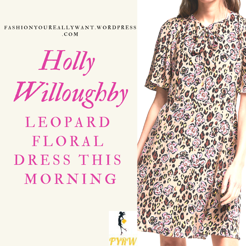 Holly Willoughby This Morning outfit style today leopard animal print floral dress October 2018
