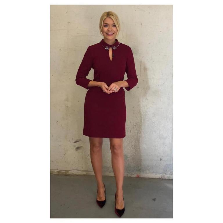 Holly Willoughby This Morning dress today berry dress with diamante collar red velvet shoes October 2018