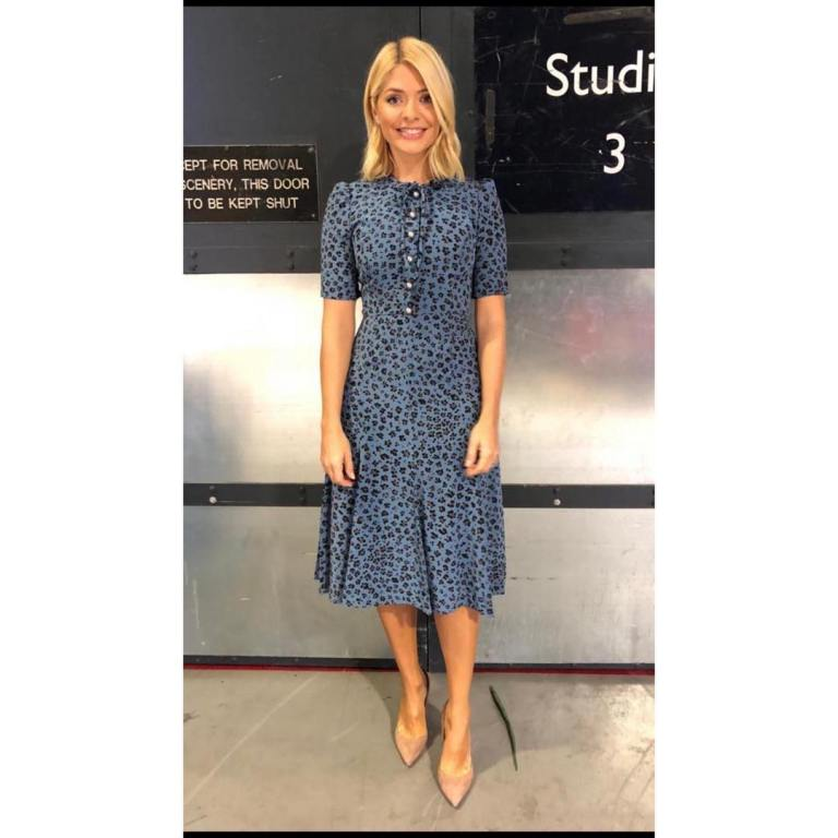 546e02b49209 Holly Willoughby This Morning dress today blue leopard print dress nude  court shoes October 2018 photo