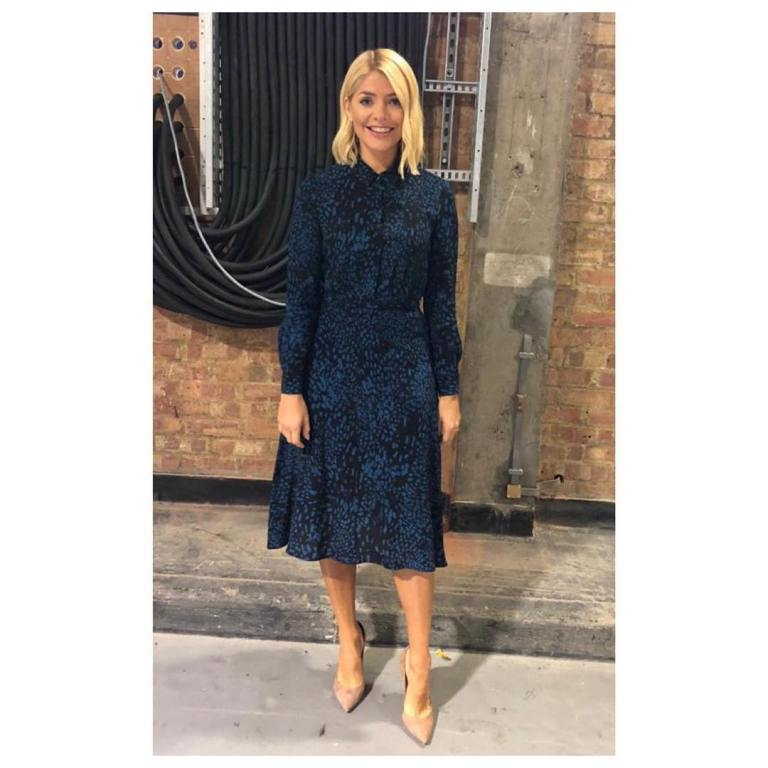 Holly Willoughby This Morning outfit today blue and black shirt dress nude court shoes October 2018