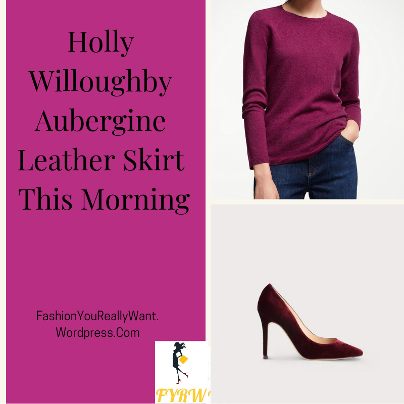 Holly Willoughby This Morning outfit today berry jumper aubergine leather skirt red velvet shoes blog October 2018