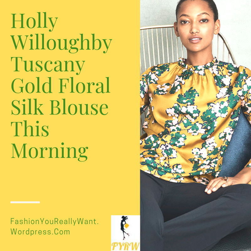 Holly Willoughby his Morning outfit today gold mustard floral top navy crop trousers pink suede court shoes blog October 2018