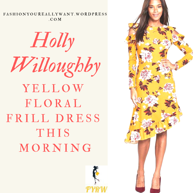 Holly Willoughby This morning outfit style yellow frill cold shoulder dress blog October 2018