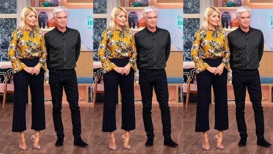 Holly Willoughy This Morning outfit today mustard floral top black crop trousers pink suede court hoes October 2018