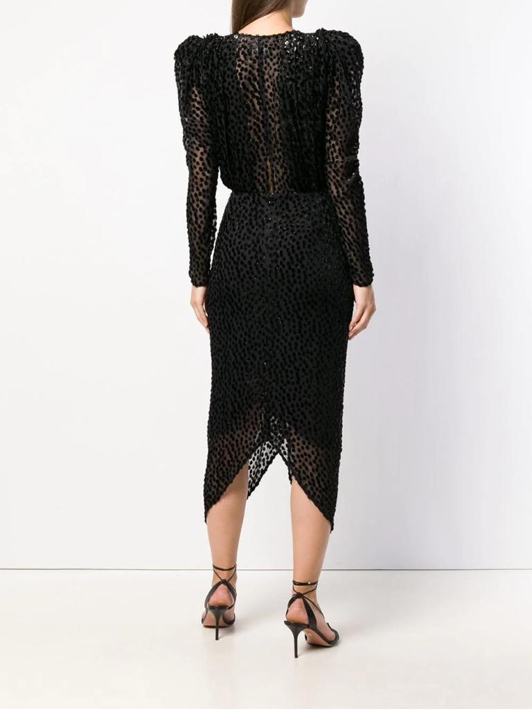 Isabel MarantMaray dotted velvet cocktail dress back view