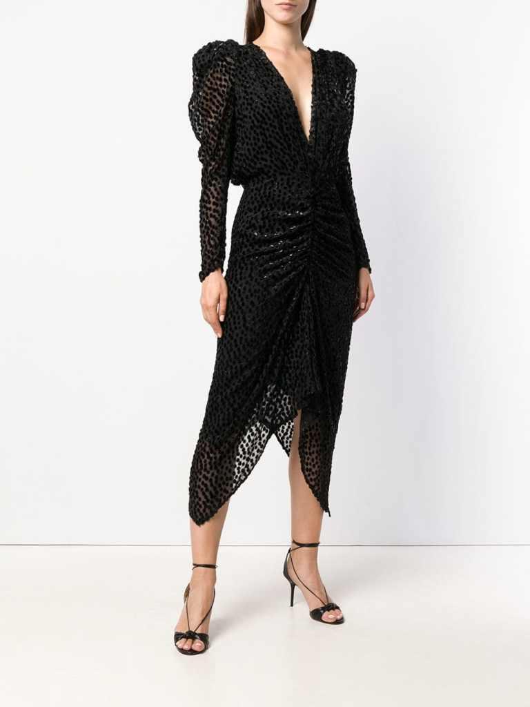 Isabel MarantMaray dotted velvet cocktail dress