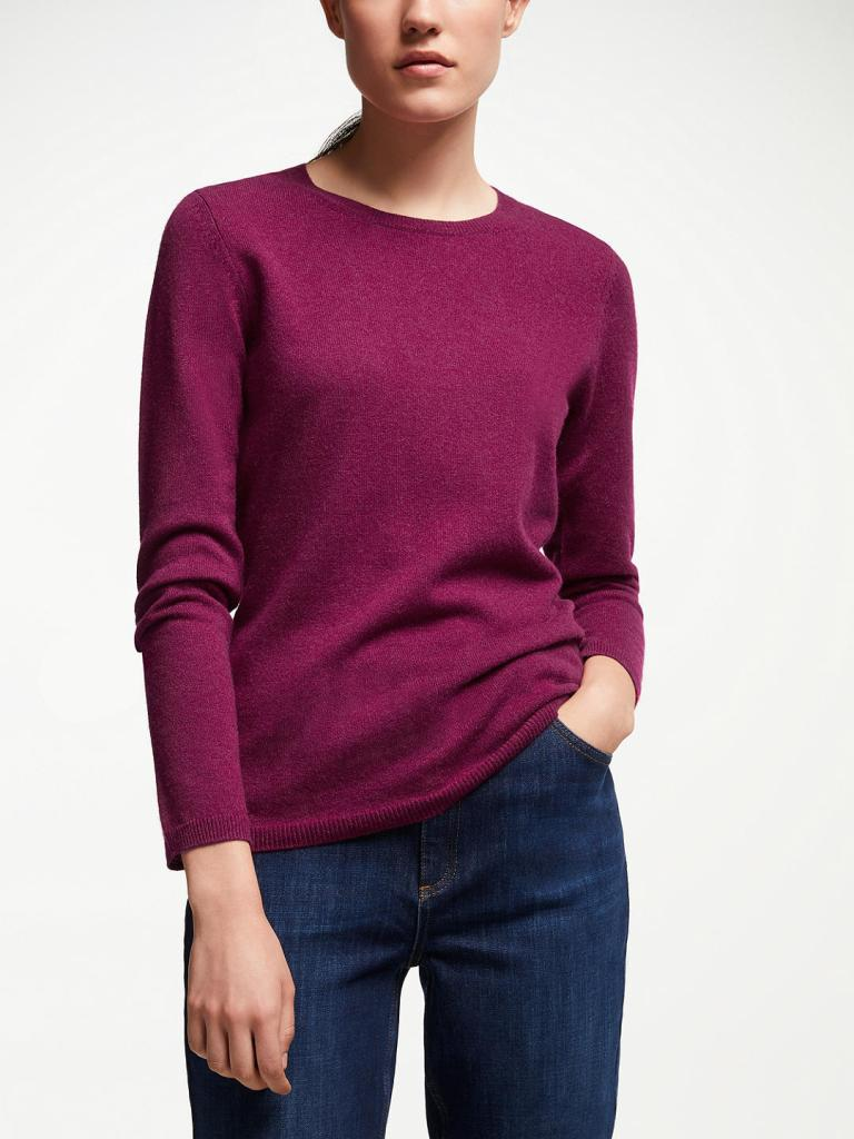 John Lewis & Partners Cashmere Crew Neck Sweater burgundy