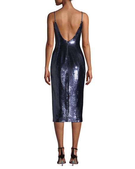 Misha Avery Sleeveless Sequin Slip Cocktail Dress back view