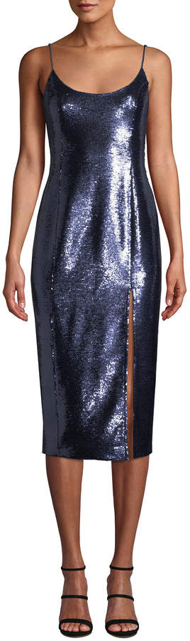 Misha Avery Sleeveless Sequin Slip Cocktail Dress