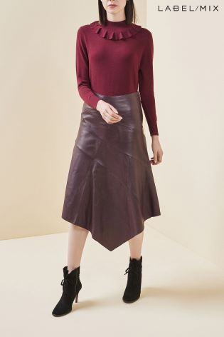 Mix Richards Radcliffe Asymmetric Leather Skirt