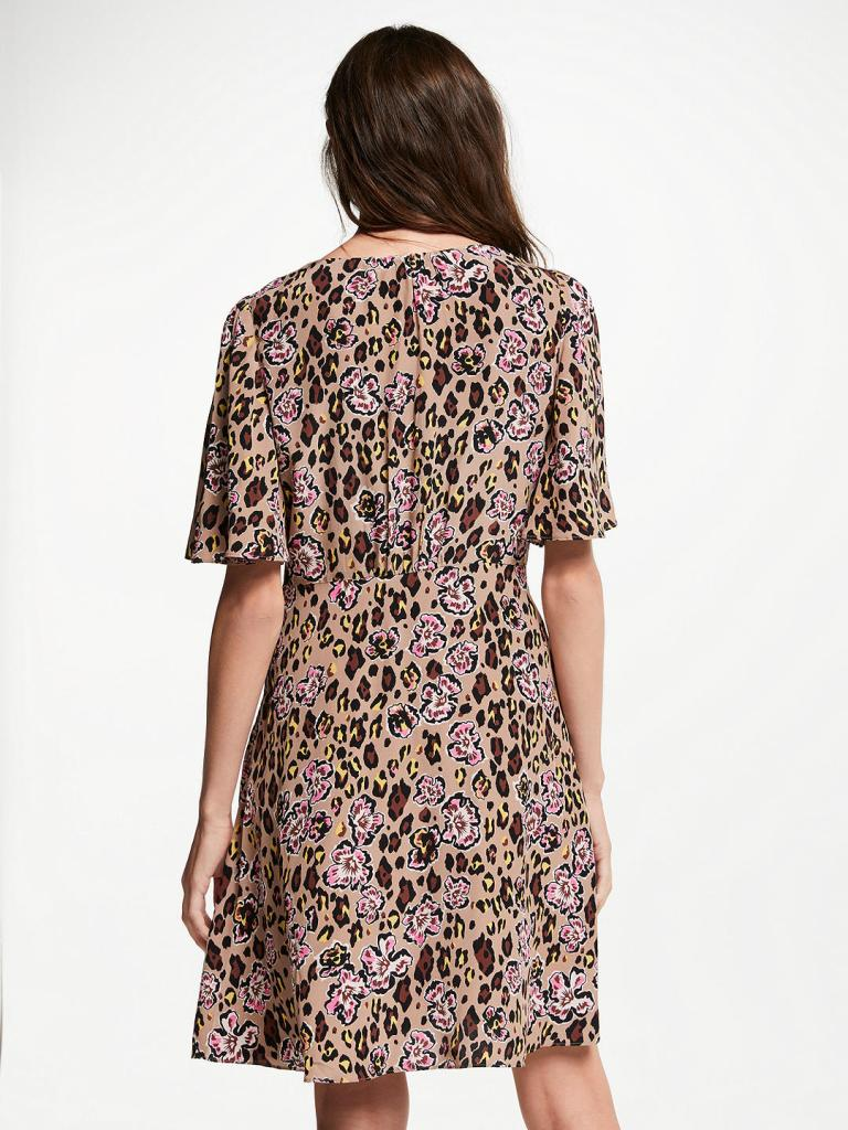 Somerset by Alice Temperley Leopard Floral Tie Neck Dress back view